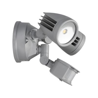 Twin Head 30W LED Spotlight with Sensor - Silver Finish / White LED