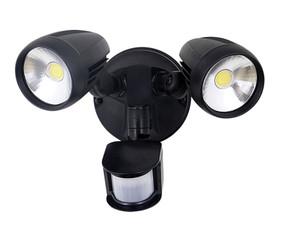 Twin 30W LED Tricolor Spotlight with Sensor - Black - Min10