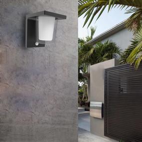 Wall Light With Sensor - 13.5W 730lm IP54 3000K 157mm Dark Grey - Min10