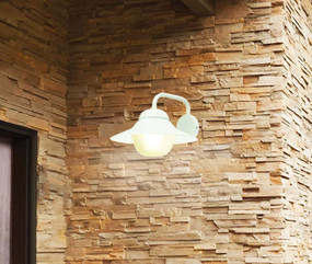 Contemporary Outdoor Wall Light IP44 - White - Min10
