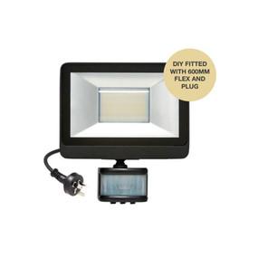 Flood Light With Sensor - 20W 1600lm IP65 Tri Colour 176mm Matte Black