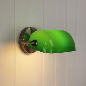 Wall Light - E27 40W 270mm Antique Brass and Dark Green