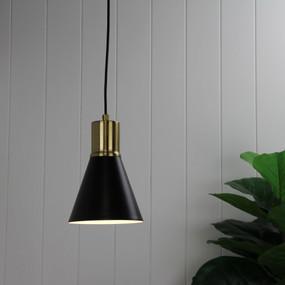 Pro Pendant Light - E27 40W 150mm Antique Brass and Matte Black