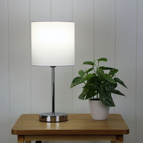 Table Lamp - E27 60W 410mm White and Chrome