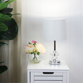 Table Lamp - E27 60W 420mm Ivory and Chrome