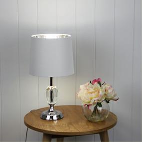 Table Lamp - 240V E27 60W 420mm Ivory and Chrome