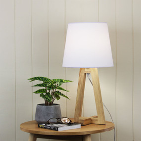 Table Lamp - E27 42W 540mm White and Timber