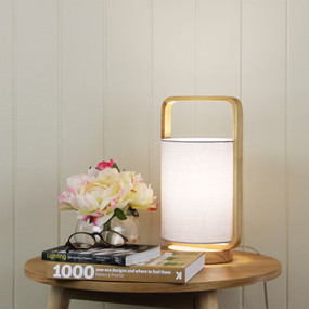 Table Lamp - E27 42W 325mm Grey and Timber