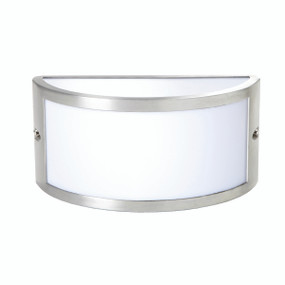 Light: CHATRI Curved Up/Down/Out Exterior Wall Light - BRUSHED ALUMINIUM