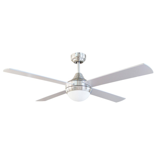 Brighton 52 Inch Ceiling Fan with Light and Remote Control - Brushed Steel