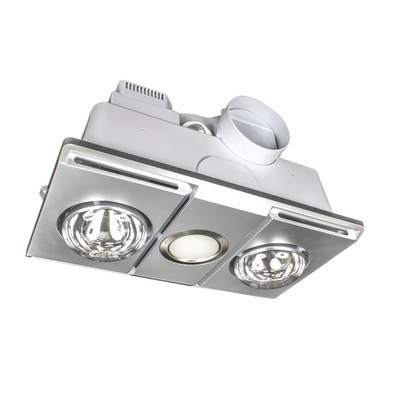 Supernova LED 3-in-1 Heat/Light/Exhaust Bathroom Mate - Silver (2 lights)