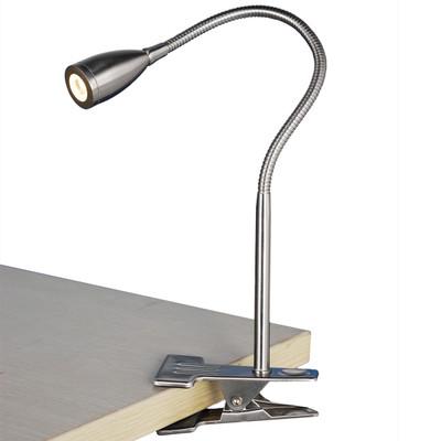 Light: SASSY LED Clip-On Lamp - BRUSHED CHROME