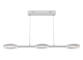 Modern LED Pendant Light - 3 Lights on Matte White Rail