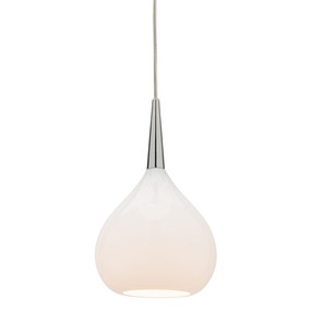 Contemporary Pendant Light Small Teardrop Opal Glass