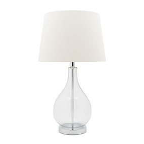 Modern Refined Glass Table Lamp - White Shade