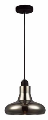 Industrial Pendant Light - Black Glass, Adjustable Cord - Barrosa