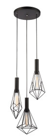 Blackband E27 pendant - Iron Cage Black 3 Round Base