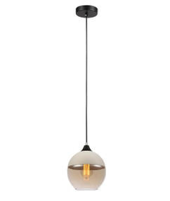Pendant Lights | CASA Series: E27 Pendant Light - White Top, Amber Glass, Round