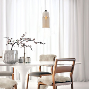 Modern Pendant Light - Glass Cylinder White Top 130mm