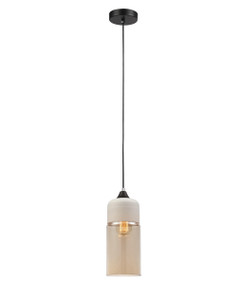 Pendant Lights | CASA Series: E27 Pendant Light - White Top With Amber Glass, Cylinder