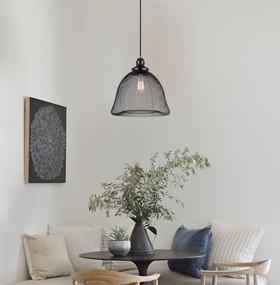 Pendant Light - Industrial Style Black Wire Bird Cage 33cm