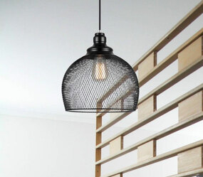 Pendant Light - Industrial Style Black Wire Cage Large Dome 28cm