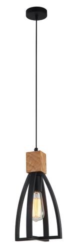 Pendant Lights   FARO series: E27 pendant light - Black Iron Wood