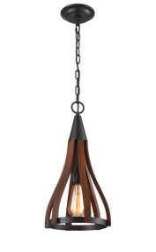 Pendant Lights | KHALEESI series: E27 pendant - Small 1 Lamp Oak Dark Redwood