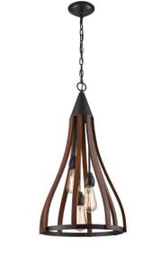 Pendant Lights | KHALEESI series: E27 pendant - Medium 3 Lamp Oak Darkwood