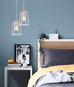 Modern White Chic Pendant Light - Timber and Iron, Adjustable Cord