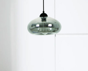 Modern Pendant Light - Oval Smoked Glass Adjustable Cord