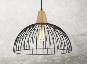 Cage Black Pendant Light - Timber, Variable Cord, Industrial