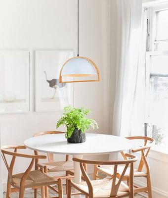 Pendant Lights | SWING series: E27 pendant light - White Iron and Wood, 37 x 20.5 cm