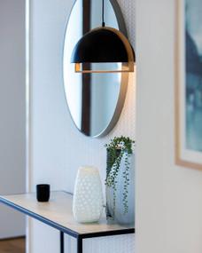 Modern Black Pendant Light - Dom, Timber and Iron, Adjustable Cord