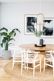 Modern White Pendant Light - Long, Timber and Iron, Adjustable Cord