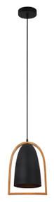 Pendant Lights   SWING series: E27 pendant light - Black Iron and Wood, 23 x 16 cm