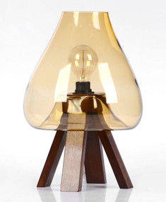 Modern E27 table lamp - Amber Glass, Dark Brown Stand