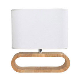 Contemporary E27 table lamp - Blonde Wood and White Cloth Shade