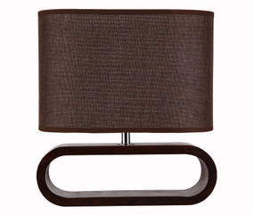 Contemporary E27 table lamp - Dark Wood and Brown Cloth Shade