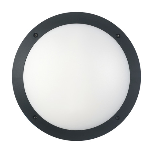Bunker Lights and Bulkhead Lights   BULK series: LED Exterior Bulkhead Light - Black Round, Cool White Lighting
