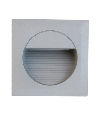 Exterior Wall Lights | 240V LED Exterior Square Recessed Wall Light - Silver with Warm White Lighting