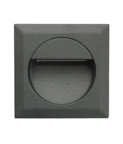 Exterior LED Square Recessed Wall Light - Black