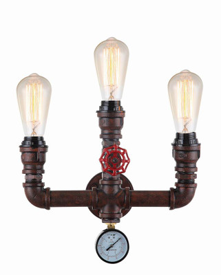 Sconces | STEAM series: interior decorative aged iron pipe wall light - 3 E27 Globes