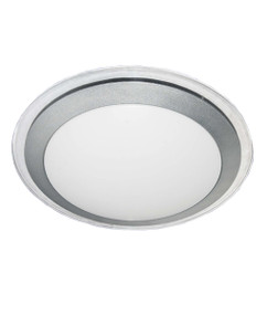Flush Mounted and Oyster Lights   LED Round Silver Trim Oyster - 28W Warm White Lighting