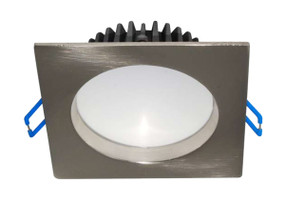 LED Downlight  - Dimmable 10W 700lm IP44 3000K 100mm Satin Chrome Square Commercial Grade