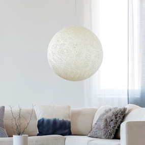 Rustic Pendant Light - White Woven String Sphere 0.6m