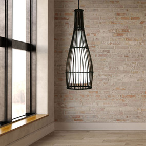 Rustic Rattan Pendant Light - Cage Cane With Cotton Inner