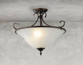 Classic Vintage Pendant Light - 3-Light Bronze With Glass