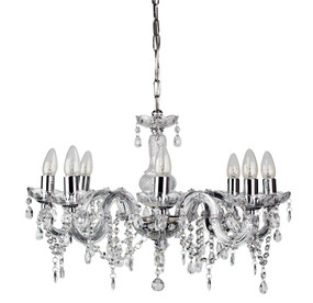 Marie Therese 8-Light Pendant Clear and Chrome