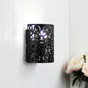 Wall Light - Black Wrought Metal, Stunning Cutout - Rustic